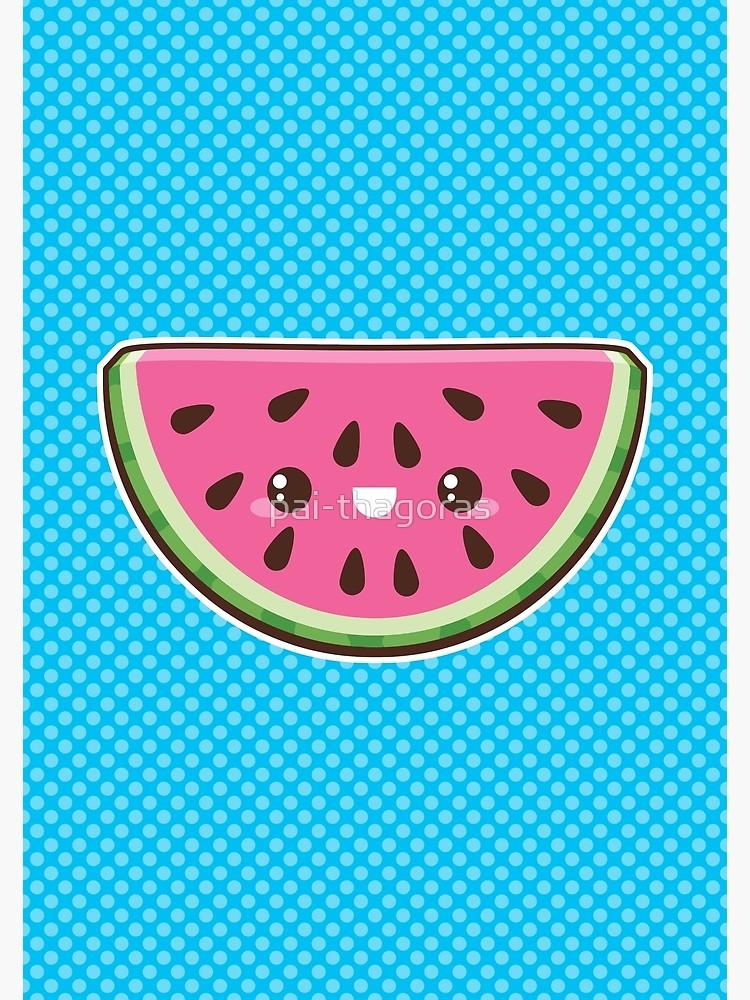 Blue melon clipart kawaii transparent library Kawaii Watermelon Slice | Greeting Card transparent library