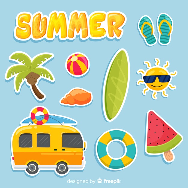 Blue melon clipart kawaii jpg free stock Kawaii summer sticker collection Vector | Free Download jpg free stock