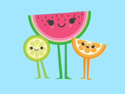 Blue melon clipart kawaii picture freeuse library Fruit Salad by wotto76 on Dribbble picture freeuse library