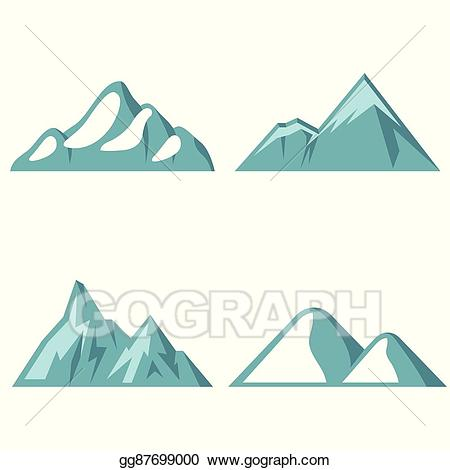 Blue mountain clipart vector royalty free download EPS Illustration - Blue mountain flat icons on white background ... vector royalty free download