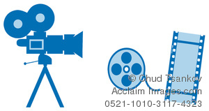 Blue movies in clipart picture transparent download Clipart Image of A Video Camera With Film and a Film Reel picture transparent download