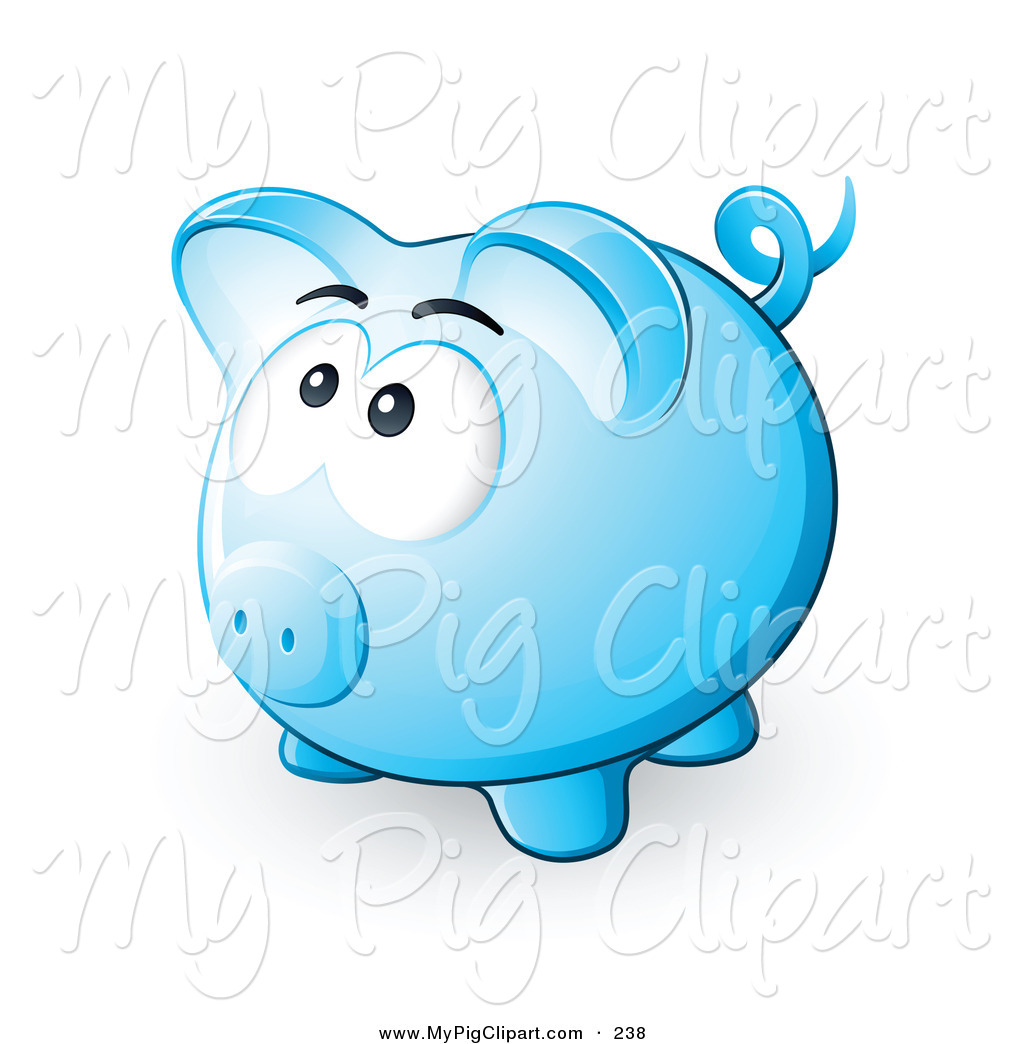 Blue piggy bank clipart clipart free library Swine Clipart of a Nervous Blue Piggy Bank Looking Upwards and ... clipart free library