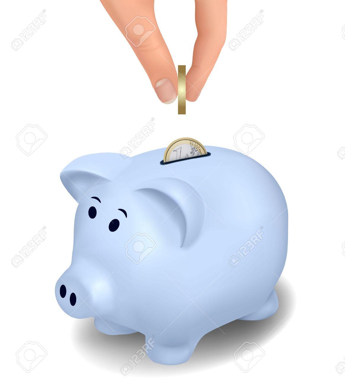 Blue piggy bank clipart jpg transparent stock Euro Coins Falling Into Piggy Bank. Vector. Royalty Free Cliparts ... jpg transparent stock