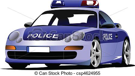 Blue police car clipart. Stock illustrations clip art