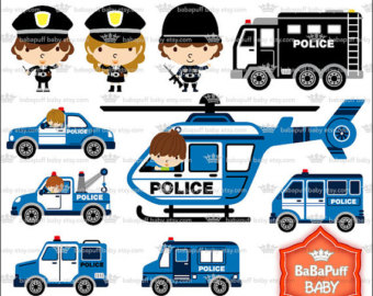 Blue police car clipart. Etsy digital and policeman