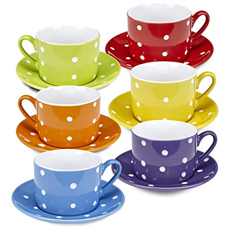 Blue polka dot teacup and saucer clipart free graphic black and white download Klikel Coffee Mug And Saucer Set – 12 Piece Porcelain Dinnerware - Solid  Colors With White Polka Dots – 5.5 Plates And 7.5oz Cups – Microwave And ... graphic black and white download