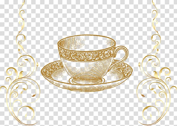 Blue polka dot teacup and saucer clipart free png free stock Brown tea cup and saucer, Tea , golden cup transparent background ... png free stock