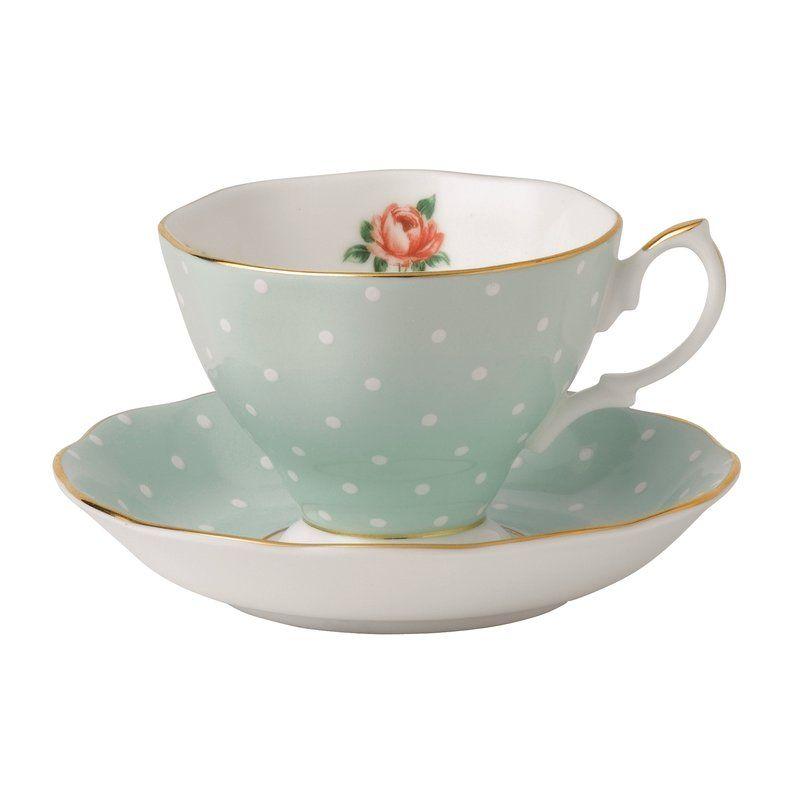 Blue polka dot teacup and saucer clipart free banner free download Polka Rose Formal Bone China Teacup & Saucer | The Kitchen Cut | Tea ... banner free download