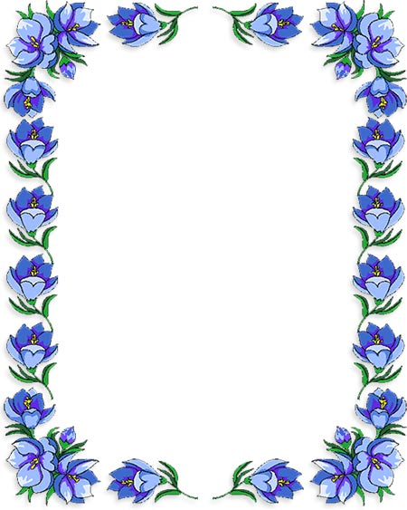 Clipart of a blue flower to print for free picture freeuse stock Free Flower Borders - Flower Border Clipart picture freeuse stock