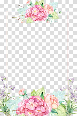 Pink purple and green flowers clipart border