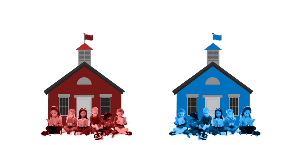 Blue school house clipart graphic black and white download Rich school. Poor school. Whose teachers are better? | Bridge Magazine graphic black and white download