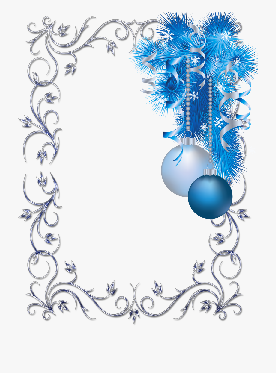 Free clipart blue christmas frames and borders picture freeuse library Large Transparent Christmas Blue And White Photo Frame - Blue And ... picture freeuse library