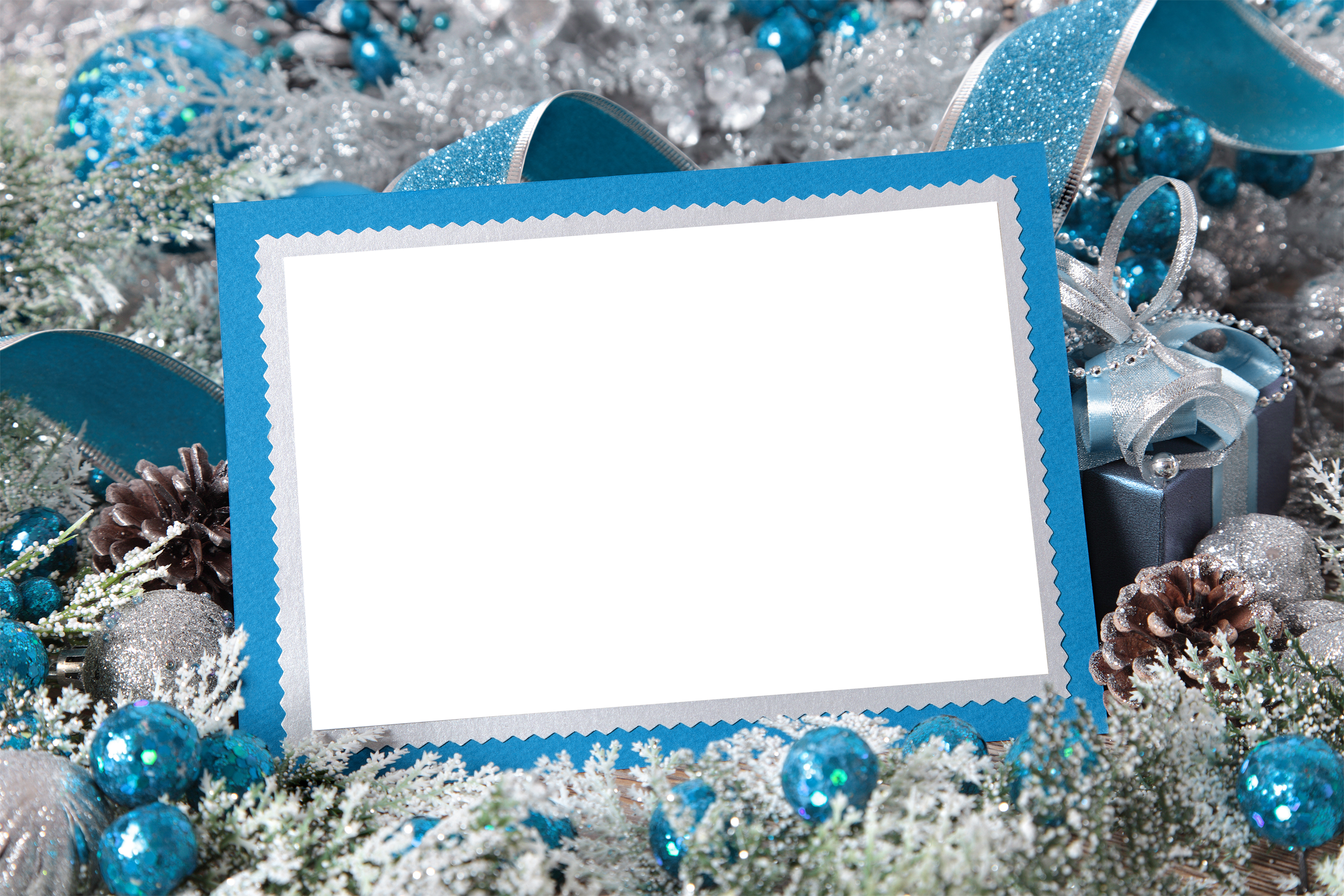 Blue & silver christmas frame clipart vector freeuse library Silver and Blue Christmas Transparent PNG Photo Frame | Gallery ... vector freeuse library