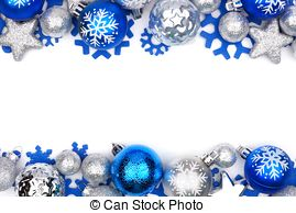 Blue & silver christmas frame clipart transparent Blue and silver christmas ornament frame over white. Christmas frame ... transparent