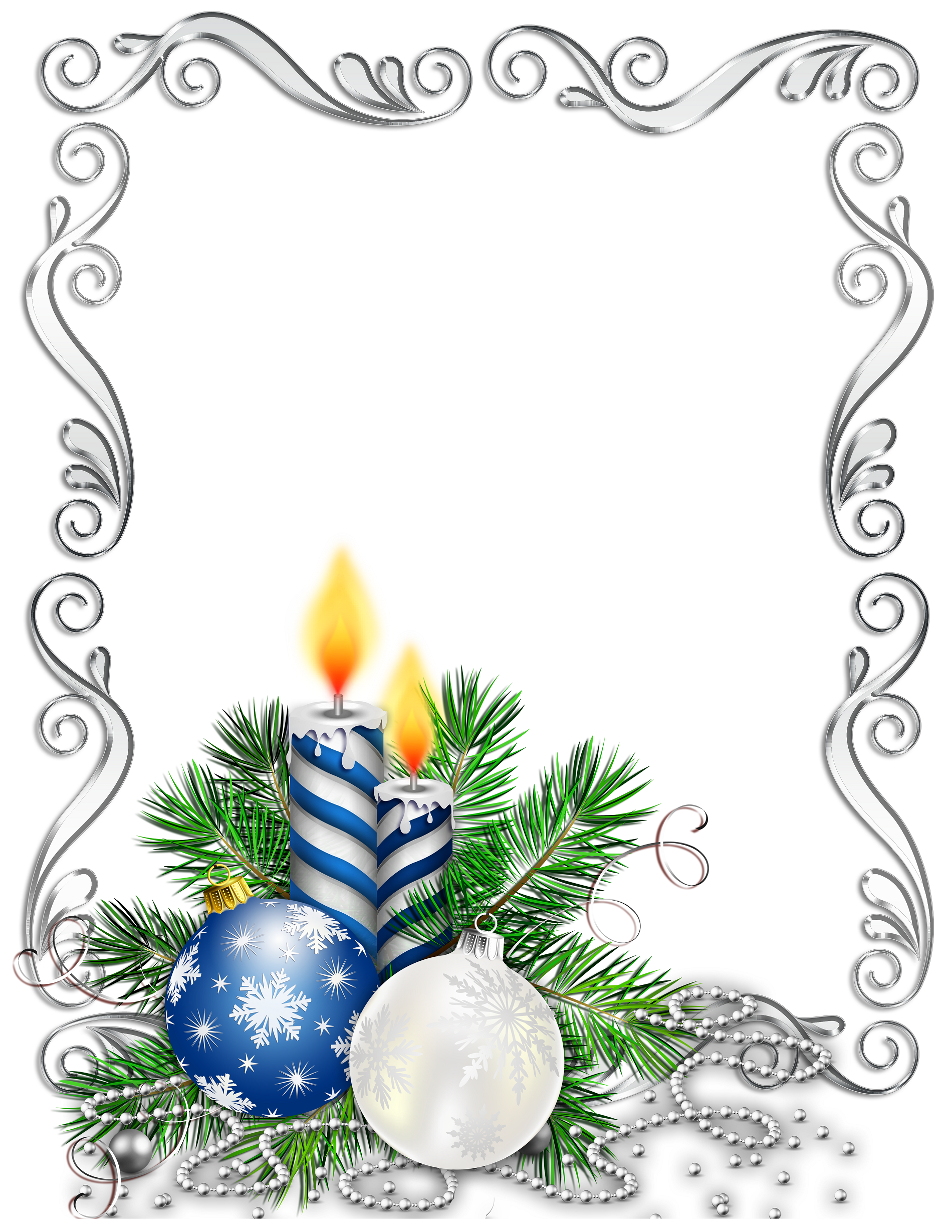 Blue & silver christmas frame clipart jpg royalty free library Christmas frame with bulbs and candles silver and blue | Ramki ... jpg royalty free library