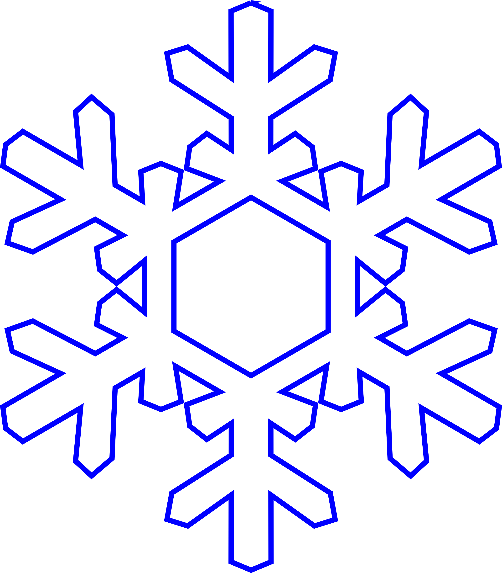 Blue snowflake outline clipart graphic black and white stock Real Snowflake Cliparts | jokingart.com Snowflake Clipart graphic black and white stock