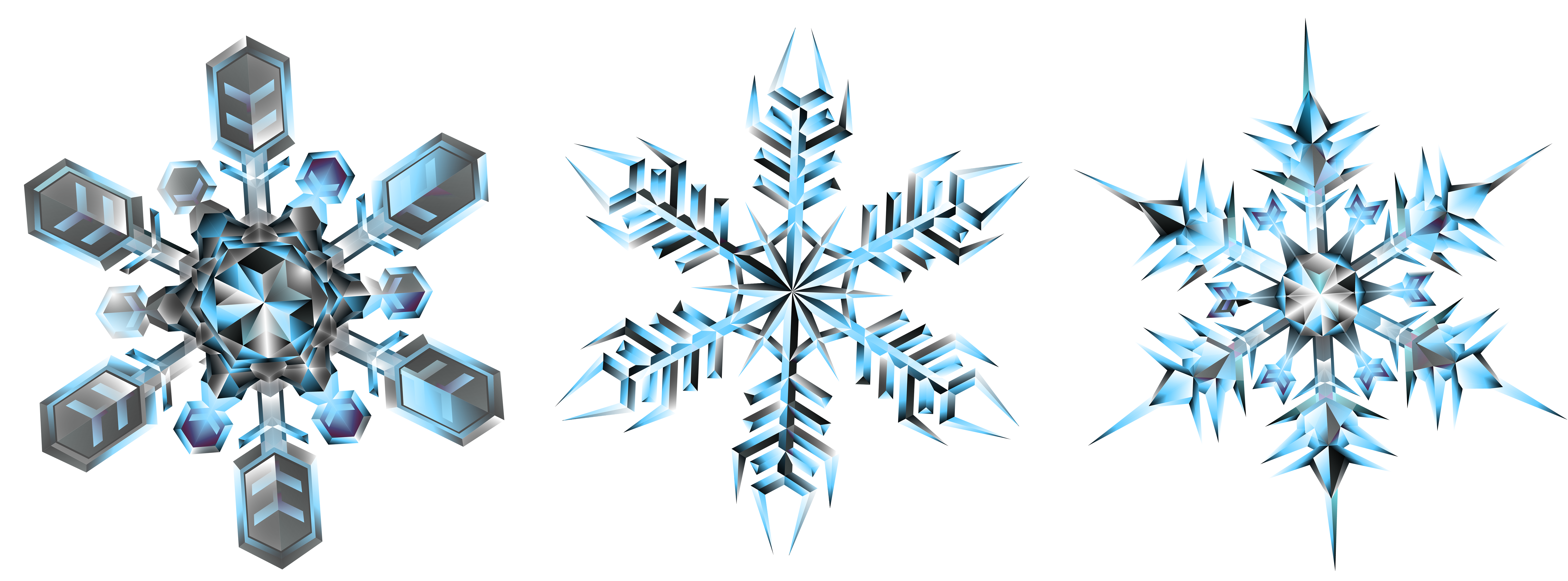 Clipart snowflake transparent royalty free library Crystal Snowflakes Transparent PNG Clip Art Image | Gallery ... royalty free library