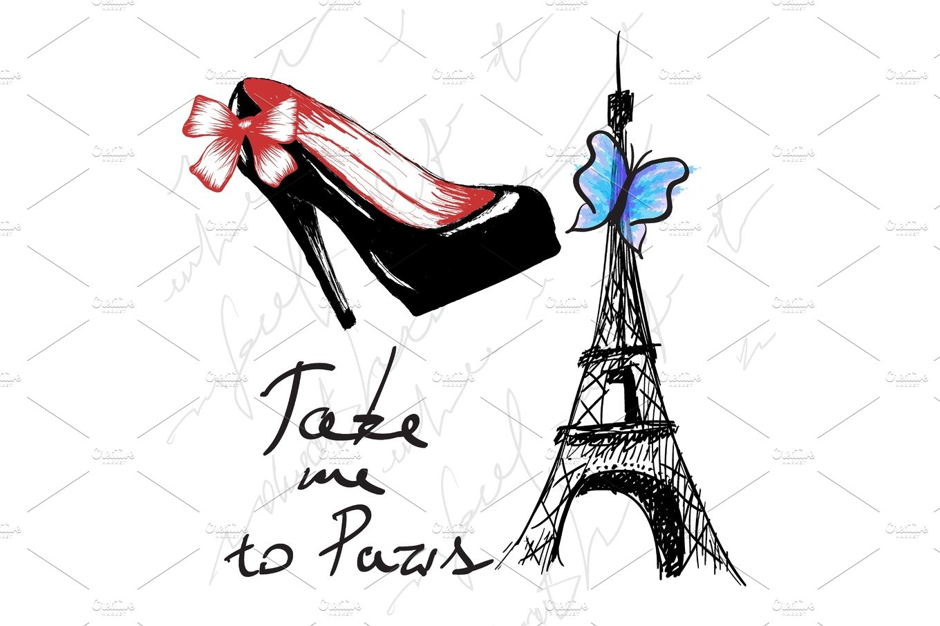 Blue take me to paris clipart font jpg transparent download Vintage poster with woman shoe and eiffel tower jpg transparent download