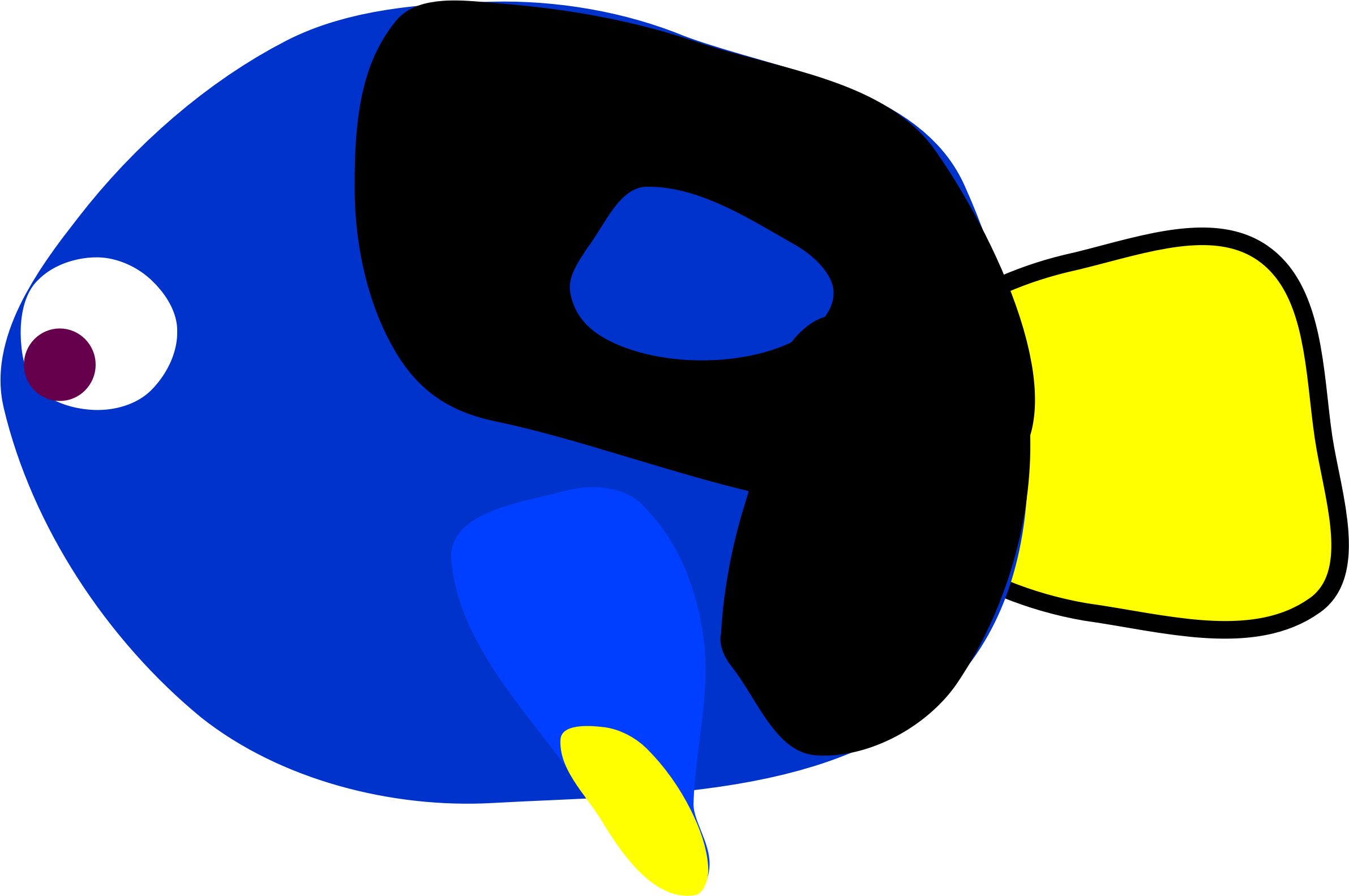 Blue tang fish clipart outline jpg free Clipart - Regal Blue Tang -