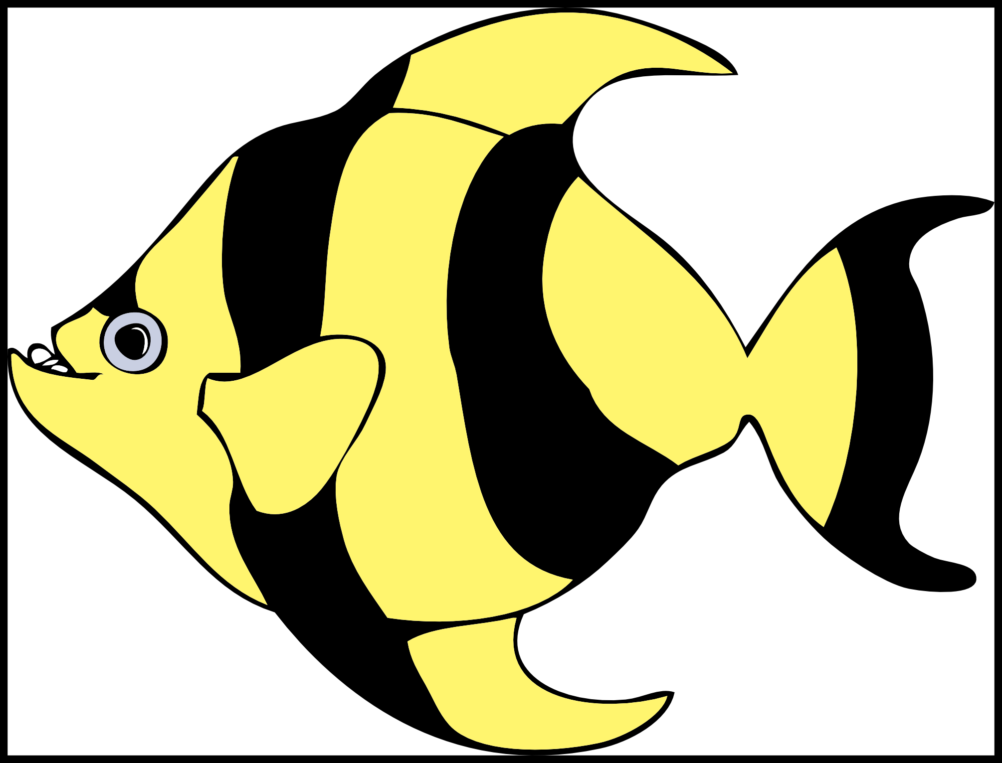 Blue tang fish clipart outline image black and white download Best Blue Tang Fish Cartoon Vector Clipart Picture Of Butterfly ... image black and white download