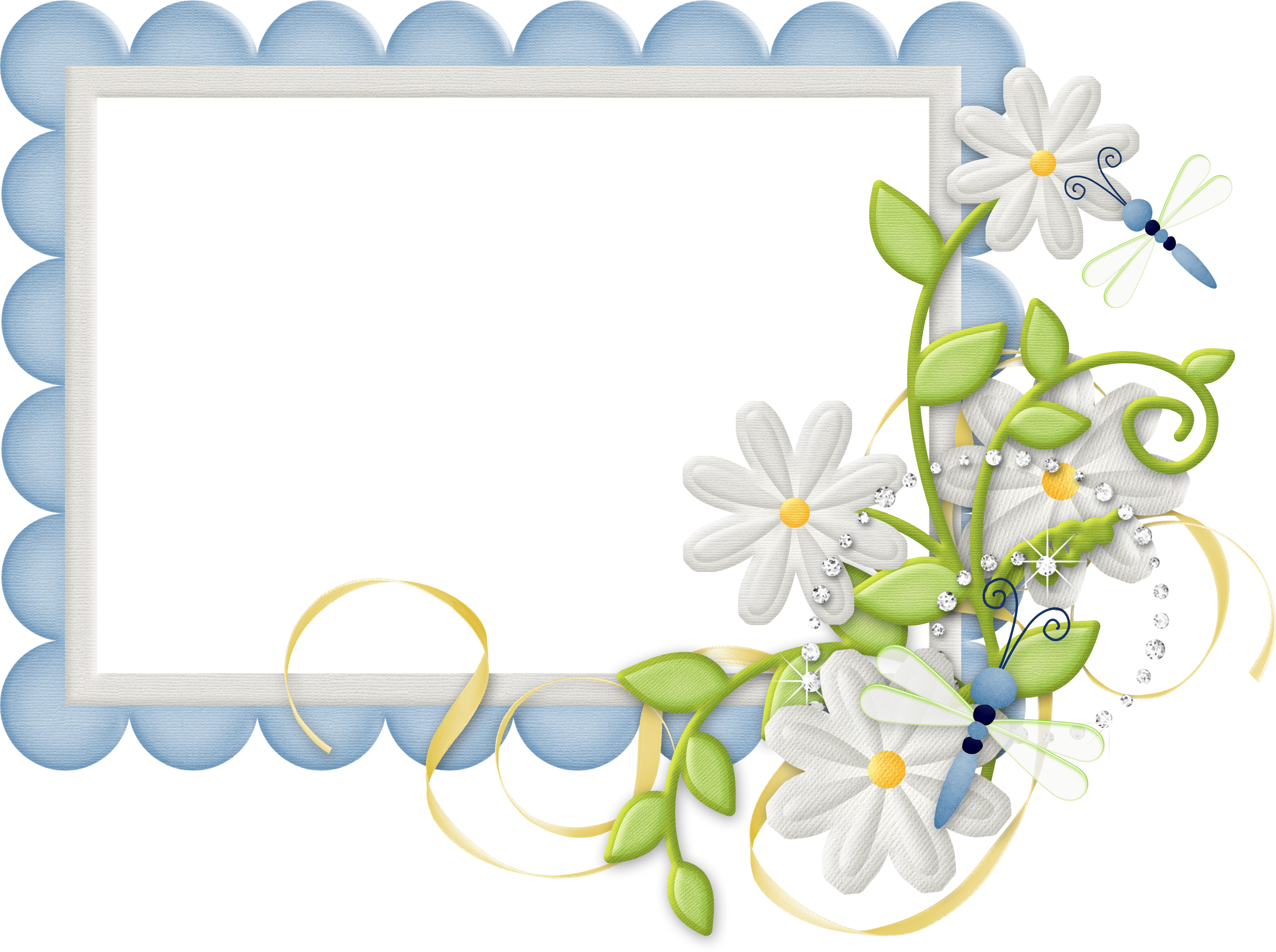 Blue thanksgiving border clipart banner transparent download Cute Large Design Blue Transparent Frame with Daisies   Gallery ... banner transparent download