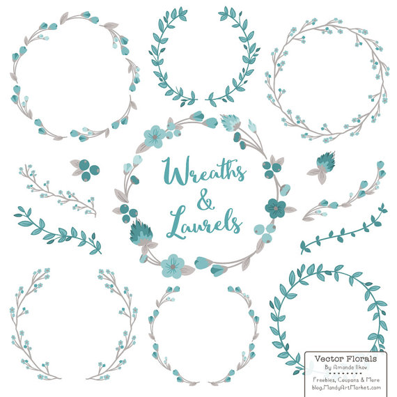 Blue vintage clipart vector stock Floral Wreaths & Laurels in Vintage Blue - Vintage Blue Flower ... vector stock