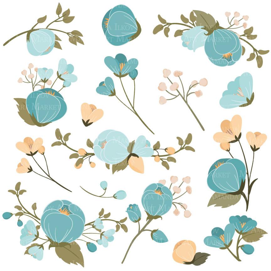 Vintage blue flower clipart jpg Vintage blue floral clipart - Clip Art Library jpg