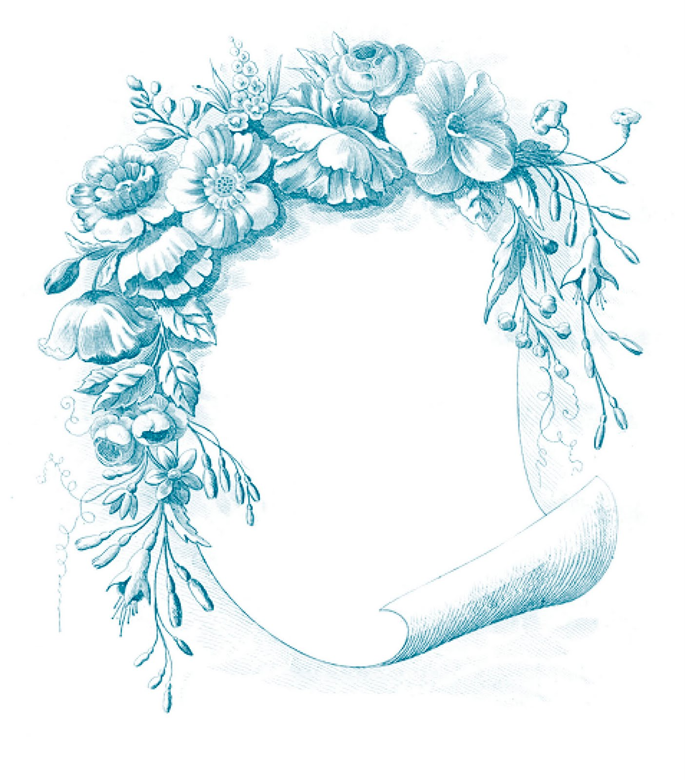 Blue vintage clipart clipart royalty free stock Vintage Clip Art - Gorgeous Floral Frame - The Graphics Fairy clipart royalty free stock