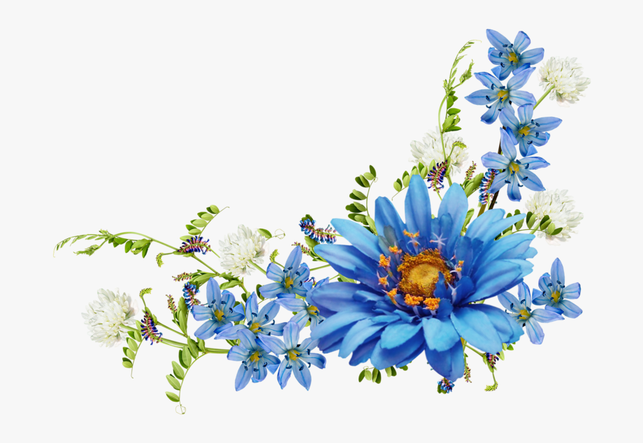 Blue vintage clipart graphic free stock Wildflower Clipart Corner Border Flower - Blue Vintage Flowers Png ... graphic free stock