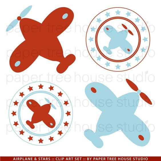 Clip art set airplanes. Blue vintage plane clipart
