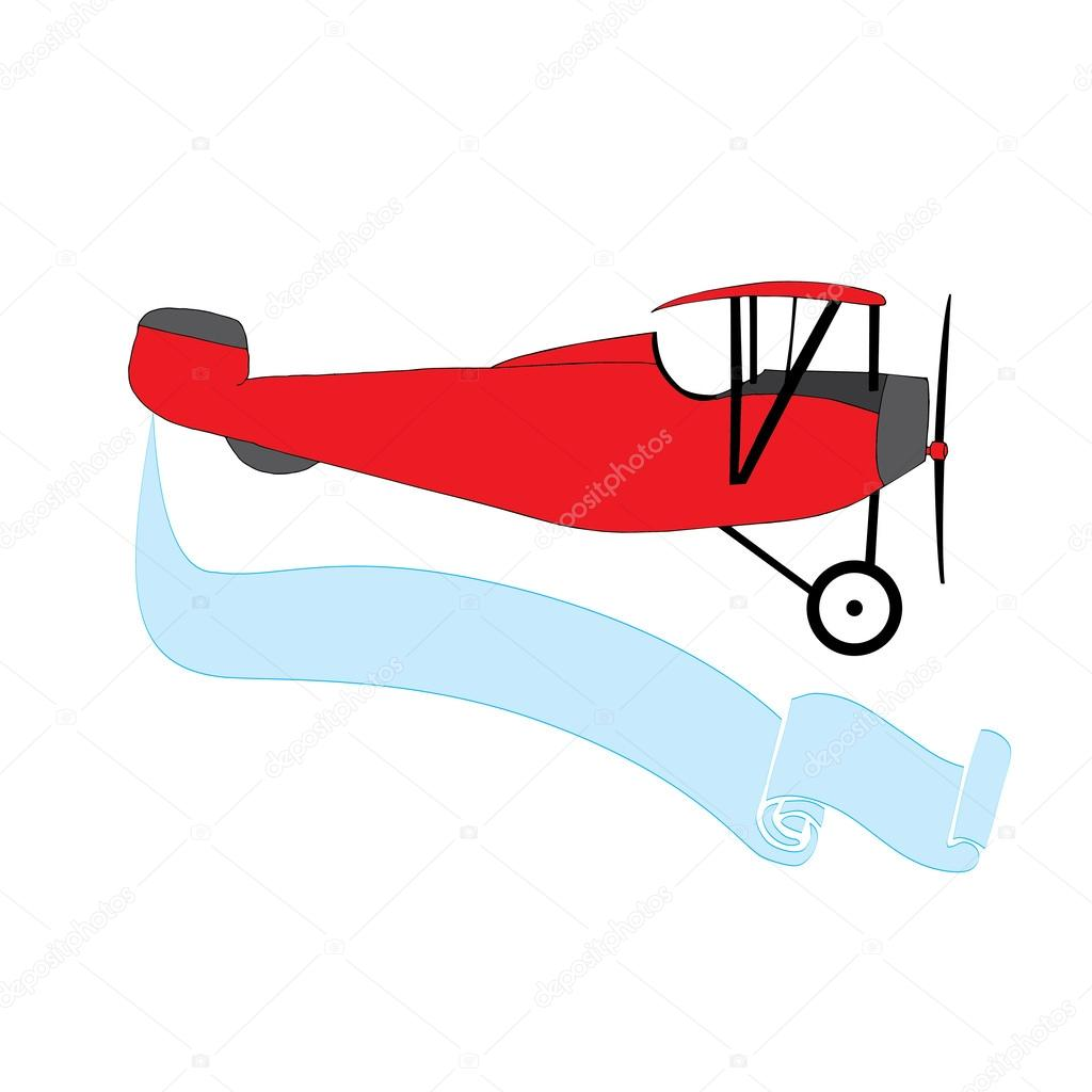 Blue vintage plane clipart. Red airplane with banner