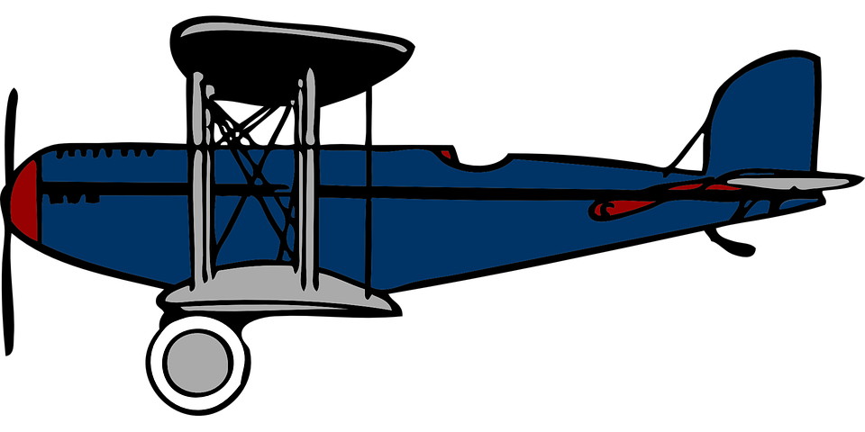 Blue vintage plane clipart black and white library Free vector graphic: Plane, Propeller, Old, Flight - Free Image on ... black and white library