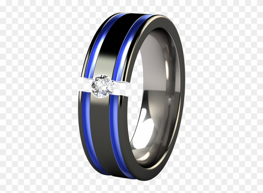 Blue wedding bands clipart jpg transparent library Mens Black And Blue Wedding Rings Abyss Colored - Titanium Solitaire ... jpg transparent library