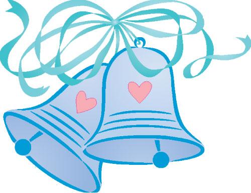 Blue wedding bells clipart