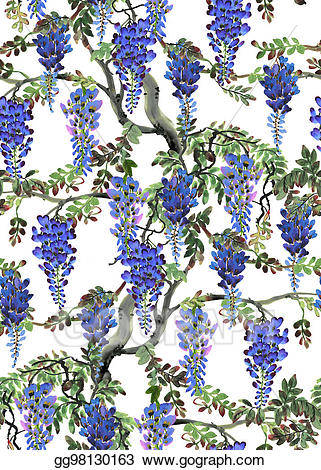 Blue wisteria clipart clipart black and white library Stock Illustration - Blue wisteria tree. Clip Art gg98130163 - GoGraph clipart black and white library