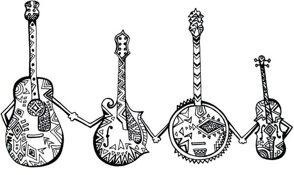 Bluegrass band clipart jpg black and white Bluegrass Instruments Art Friends Print Clipart | Music in 2019 ... jpg black and white