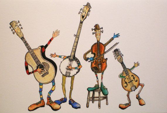 Bluegrass band clipart clipart library Art Greeting Card Music Bluegrass Band Musician Guitar Picture ... clipart library