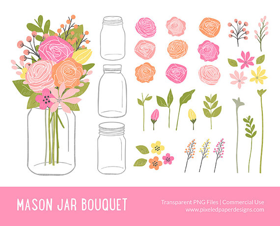 Blush and gold flowers in mason jar clipart clip art free library Mason Jar Flowers Clip Art: \