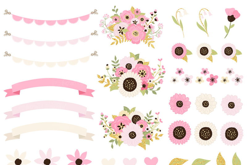 Blush and gold flowers in mason jar clipart jpg free download Pink and Gold Mason Jar Floral Wedding Clipart By AvenieDigital ... jpg free download