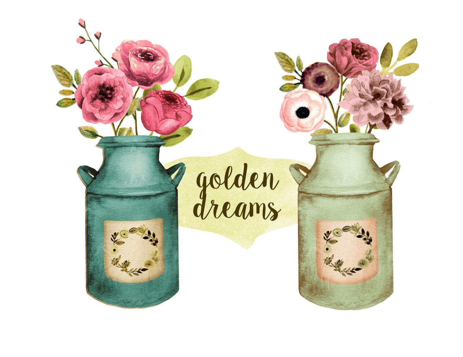 Blush and gold flowers in mason jar clipart banner library Floral clipart, rustic wedding clipart, mason jar clipart, milk can ... banner library