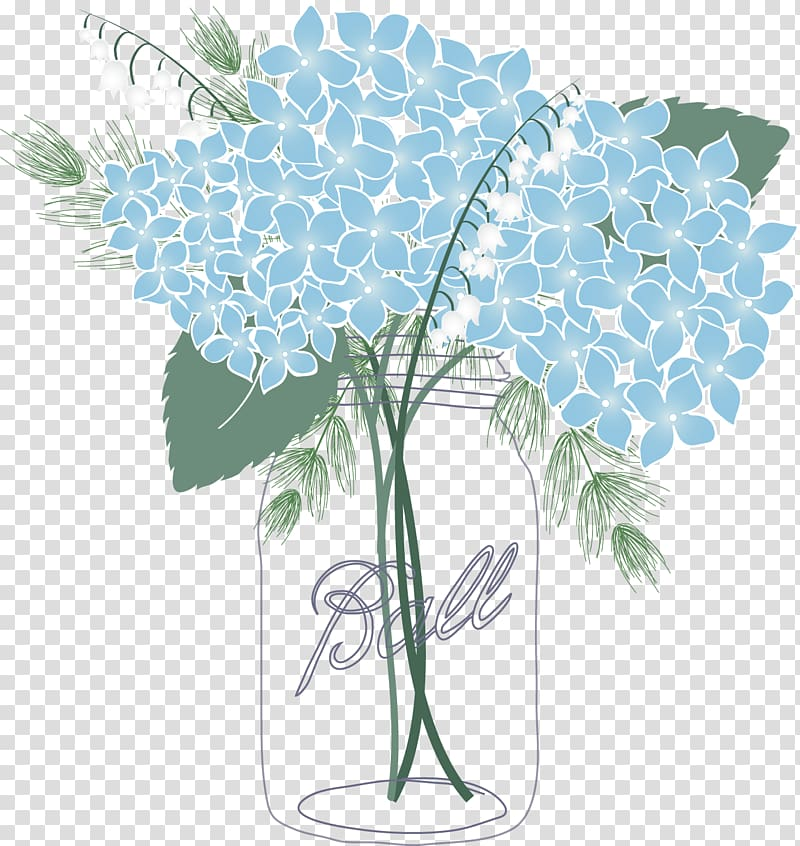 Blush and gold flowers in mason jar clipart svg download Blue hydrangeas in vase illustration, French hydrangea Mason jar ... svg download