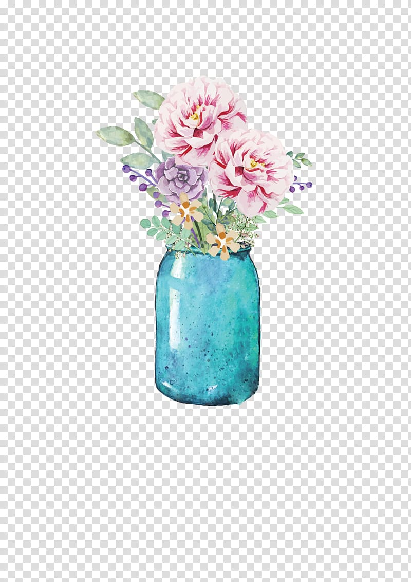 Blush and gold flowers in mason jar clipart banner free library Blue jar with pink and purple flowers, Flower Mason jar Watercolor ... banner free library