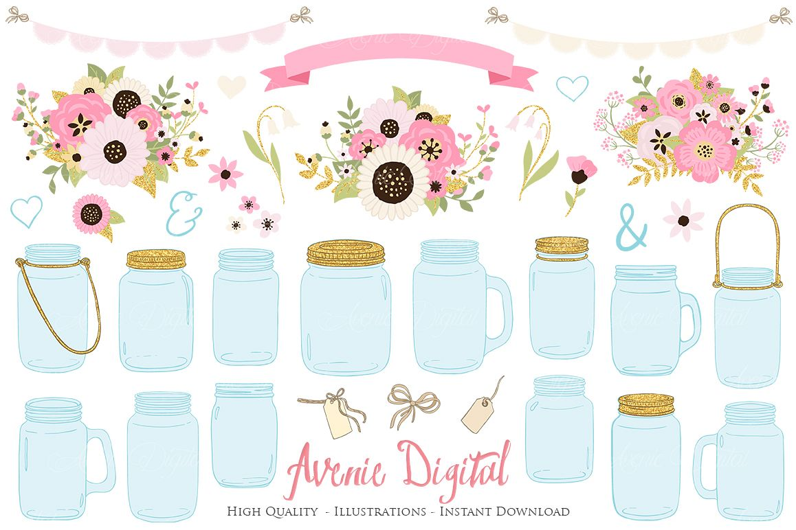 Blush and gold flowers in mason jar clipart jpg library stock Pink and Gold Mason Jar Floral Wedding Clipart jpg library stock