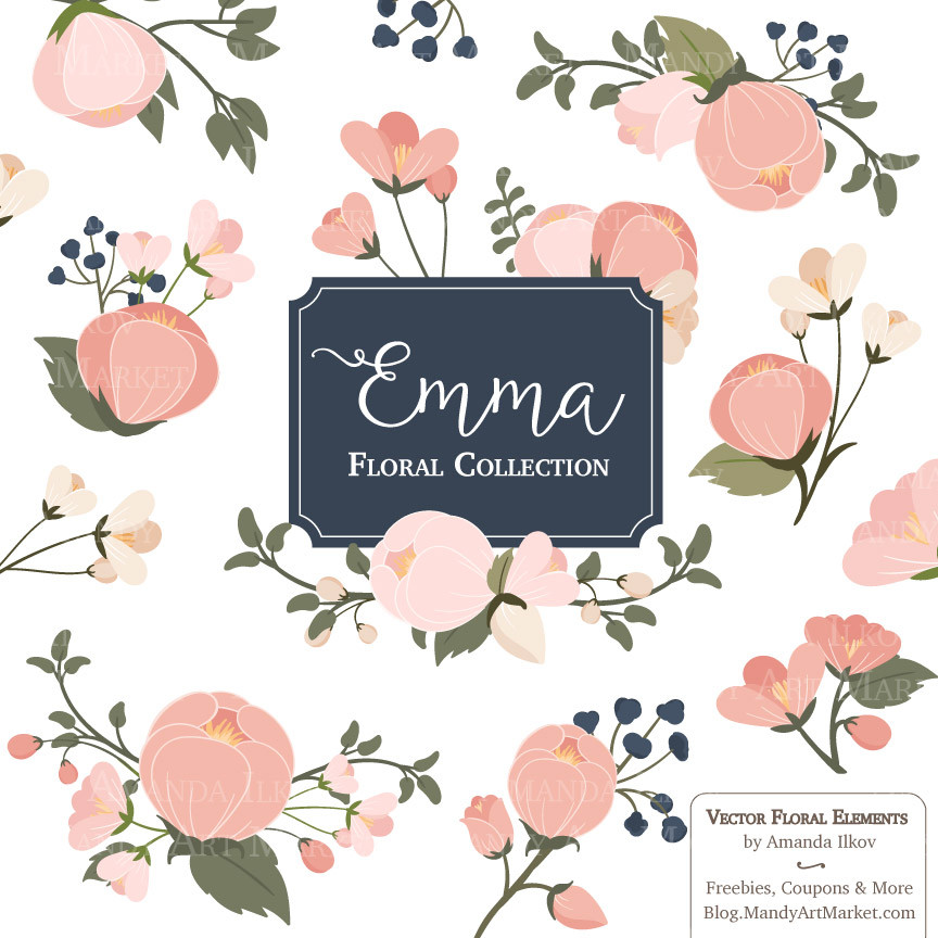 Blush navy and white wedding flower clipart vector transparent library Free Navy Floral Cliparts, Download Free Clip Art, Free Clip Art on ... vector transparent library