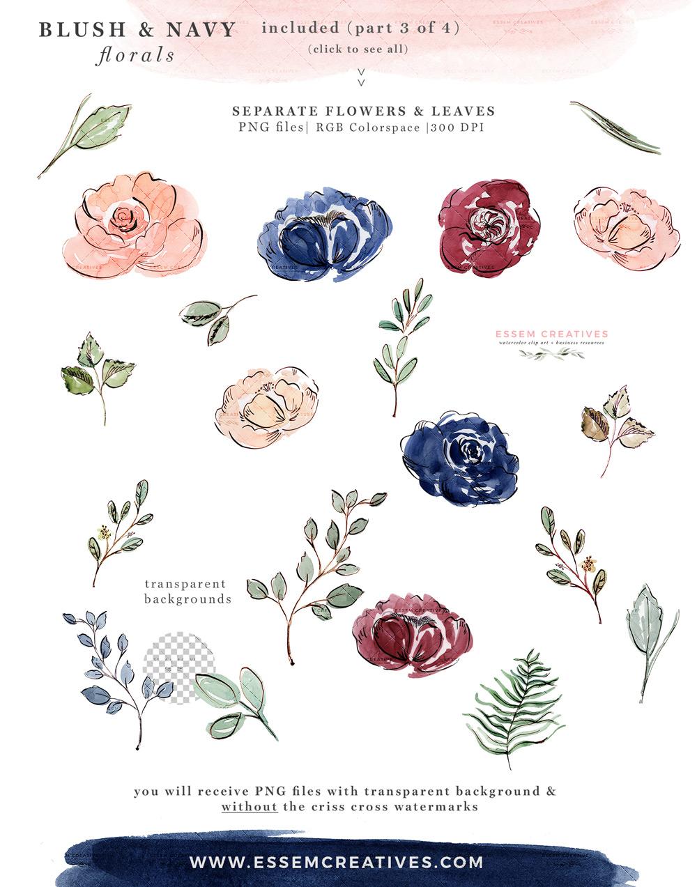 Blush navy and white wedding flower clipart clip black and white download Blush and Navy Blue Watercolor Flowers Clipart, Wedding Invitation  Backgrounds clip black and white download