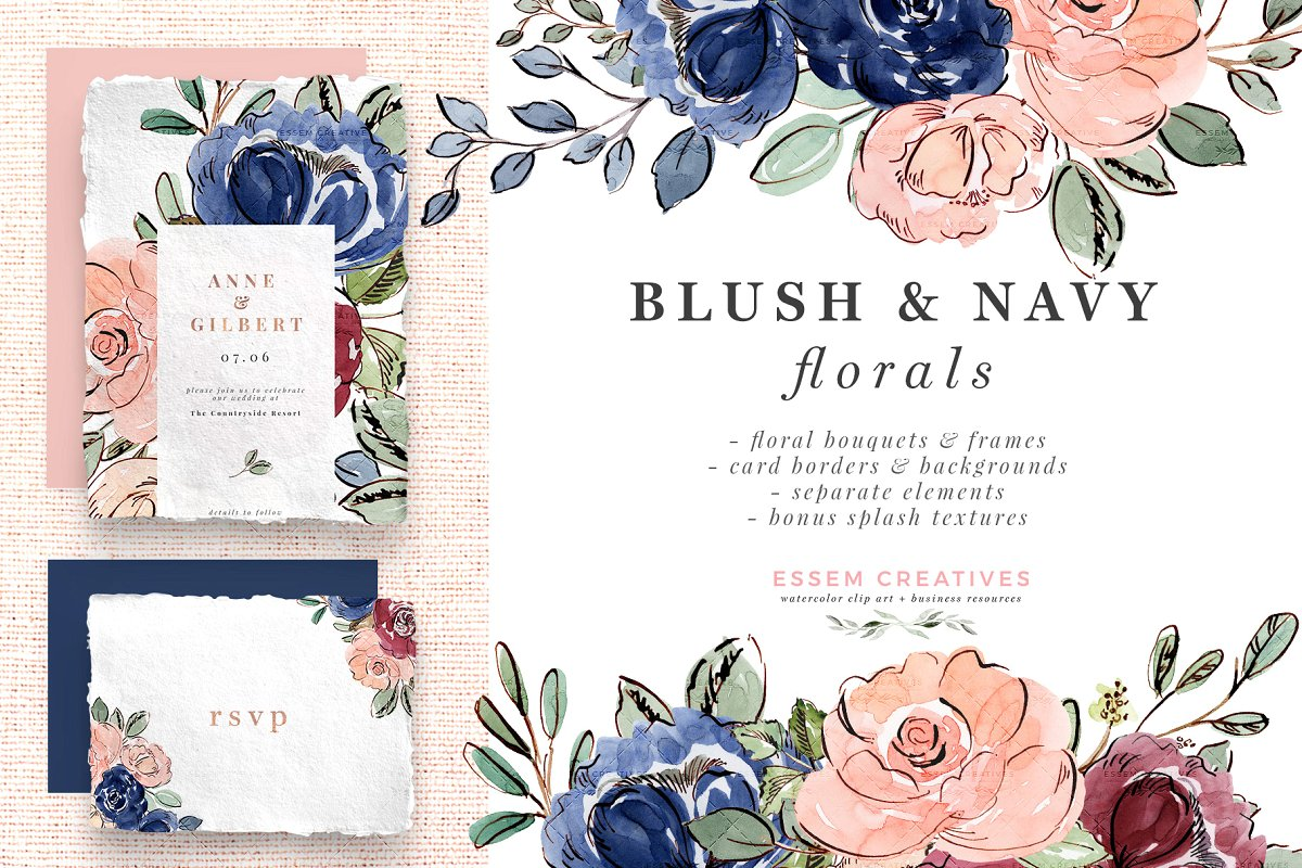 Blush navy and white wedding flower clipart jpg library Blush and Navy Watercolor Flowers ~ Illustrations ~ Creative Market jpg library