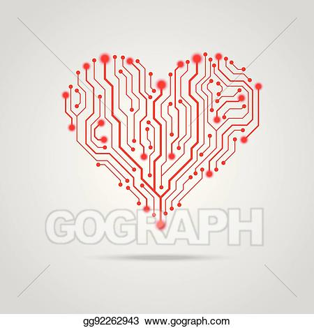 Board design clipart picture black and white download Vector Illustration - Vector pcb red heart design. EPS Clipart ... picture black and white download