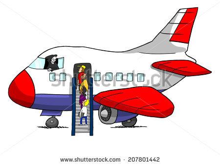 Boarding the plane clipart. Cartoon ship stock vector