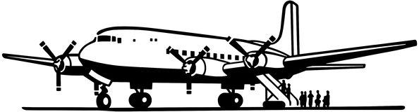 Boarding the plane clipart. Passengers stock illustrations royalty