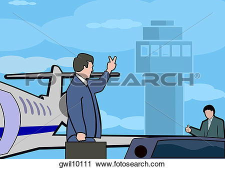 Of businessman a waving. Boarding the plane clipart